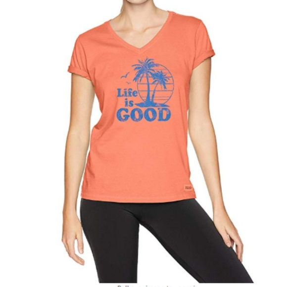Life Is Good Tops - Life is Good Fresh Coral XL Vintage Palms T-shirt